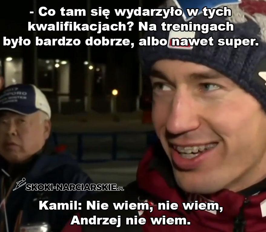 Memy po konkursach w Sapporo - Kamil Stoch o gorszym wyniku w kwalifikacjach w Sapporo