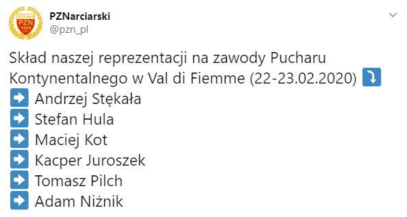 Kadra Polski na PK w Predazzo